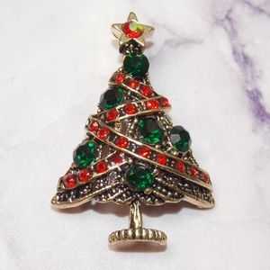 Christmas Tree Brooch Vintage 50s Style Pin Up